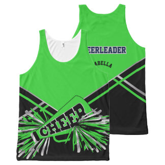 Cheerleader -Green, Silver and Black All-Over Print Singlet