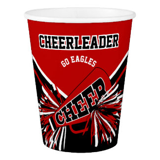 Cheerleader in Deep Red, White and Black Paper Cup