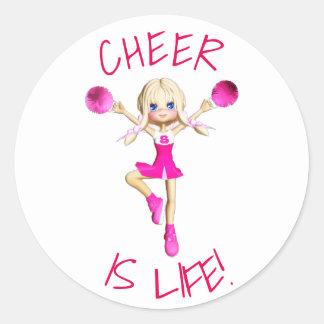 Cheerleader In Hot Pink Cheer Is Life Round Sticker