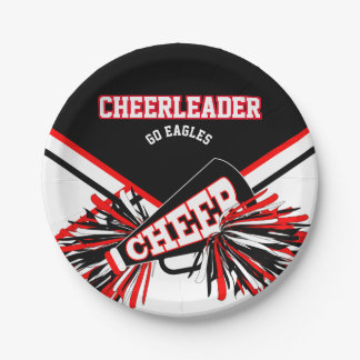 Cheerleader in Red, White and Black Paper Plate