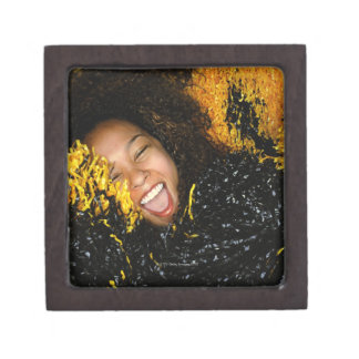 Cheerleader laughing, surrounded by pompoms, premium trinket box