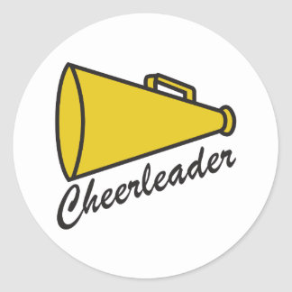 CHEERLEADER MEGAPHONE ROUND STICKER