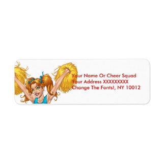 Cheerleader or Cheerleading with Pom-Poms - Al Rio Return Address Label