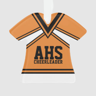 Cheerleader Orange and Black with Varsity Letters Ornament