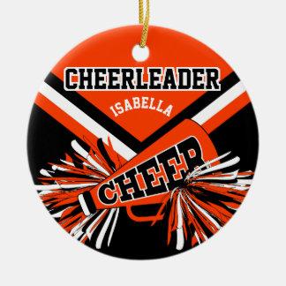 Cheerleader - Orange, Black and White 2 Ceramic Ornament