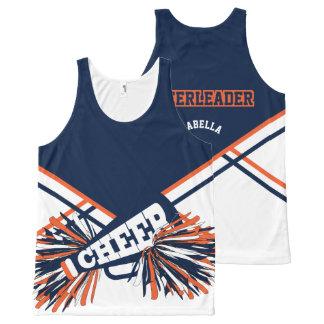 Cheerleader -Orange & Navy Blue All-Over Print Singlet