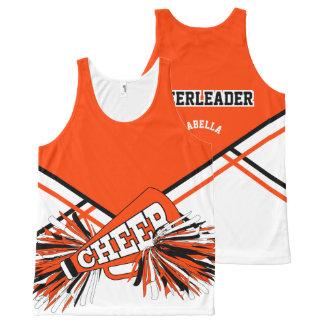 Cheerleader -Orange, White & Black All-Over Print Tank Top