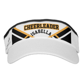 Cheerleader Outfit in Gold, White and Black Visor