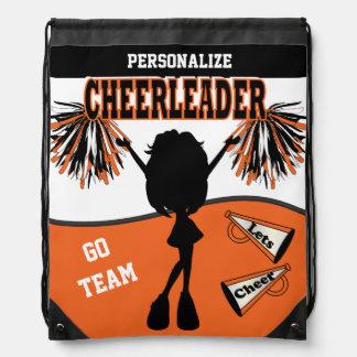 Cheerleader Personalize   Orange White Black Drawstring Bags