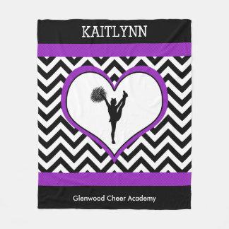 Cheerleader / Pom Chevron Heart with Monogram Fleece Blanket