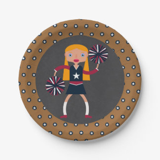 Cheerleader Pompoms girl Birthday Party Paper Plate