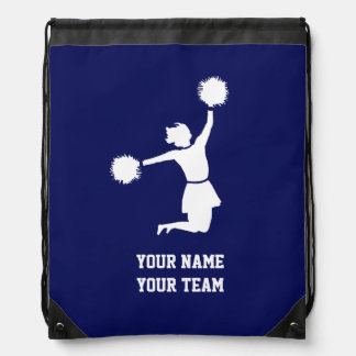 Cheerleader Silhouette On Blue Backpack