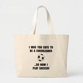 Cheerleader Soccer Large Tote Bag