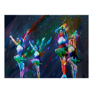 Cheerleader Squad with Cut Paper Background Poster