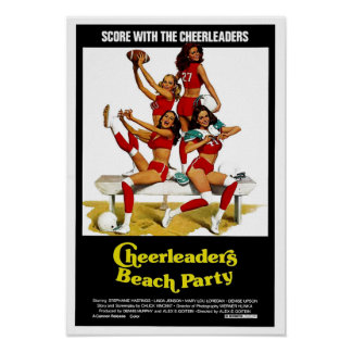 Cheerleaders Beach Party Poster