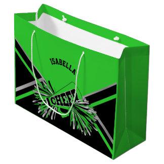Cheerleaders - Lime Green, Black, Silver - Large Large Gift Bag