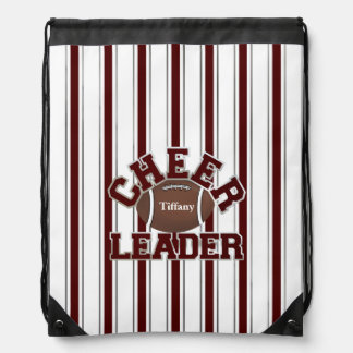 Cheerleader's Maroon and White Drawstring Backpack