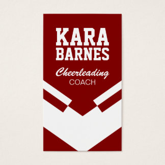 Cheerleading Coach Red and White Business Card