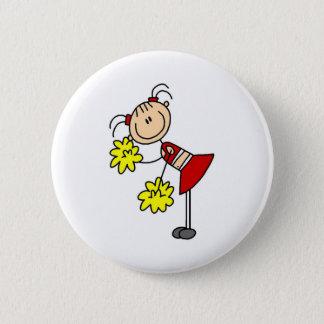 Cheerleading Girl Stick Figure Button