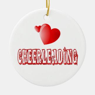 Cheerleading Hearts Ceramic Ornament