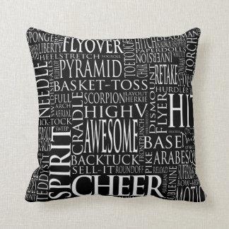 Cheerleading Word Cloud Pillow in Black & White
