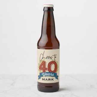 Cheers 40th Birthday Beer Label