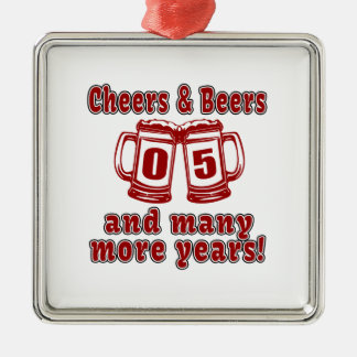 Cheers And Beers 05 Years Silver-Colored Square Decoration
