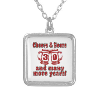 Cheers And Beers 30 Years Silver Plated Necklace