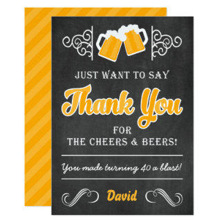 Cheers and Beers 40th Birthday Thank You Card