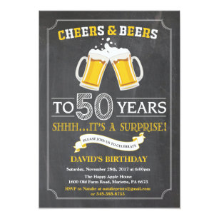 Cheers And Beers 50th Birthday Invitation Card