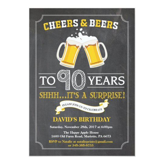 Cheers and Beers 90th Birthday Invitation Card