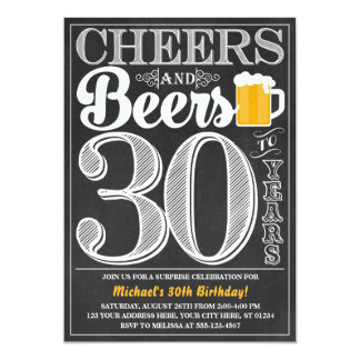 Cheers and Beers to 30 Years Birthday Invitation