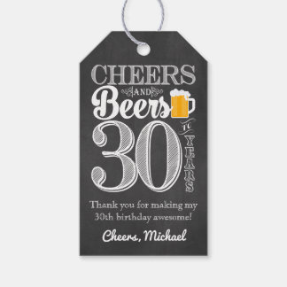 Cheers and Beers to 30 Years Gift Tags