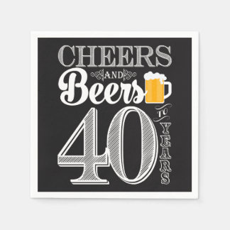 Cheers and Beers to 40 Years Cocktail Napkins Disposable Napkin