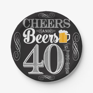 """Cheers and Beers to 40 Years Paper Plates 7"""""""