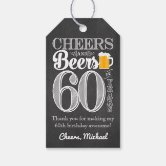 Cheers and Beers to 60 Years Gift Tags