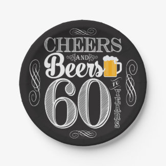 """Cheers and Beers to 60 Years Paper Plates 7"""""""