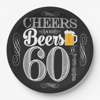 Cheers and Beers to 60 Years Paper Plates 9""