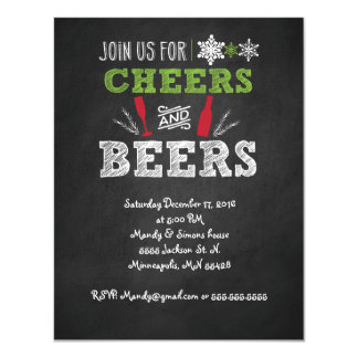 Cheers and Craft beer Holiday Party Invitation. 11 Cm X 14 Cm Invitation Card