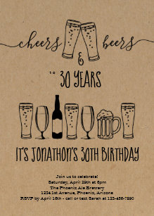 Cheers Beer Birthday Party Invitation