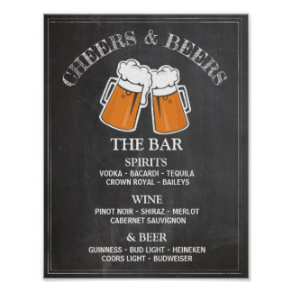 Cheers Beers Bar Sign Wedding Reception Poster