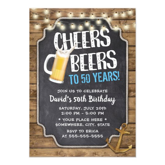 Cheers Beers Gold Anchor Rustic 50th Birthday Invitation