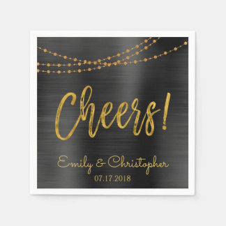 Cheers Black and Gold Foil String Lights Disposable Napkin