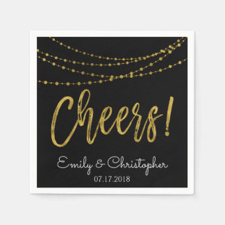 Cheers Black and Gold Foil String Lights Disposable Serviette