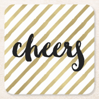 Cheers | Black & Faux Gold Stripe Square Paper Coaster