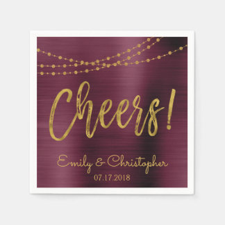 Cheers Burgundy and Gold Foil String Lights Disposable Napkin