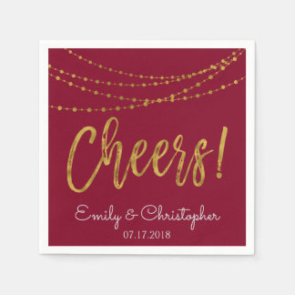 Cheers Burgundy and Gold Foil String Lights Disposable Serviette