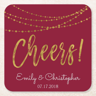 Cheers Burgundy and Gold Foil String Lights Square Paper Coaster