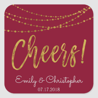Cheers Burgundy and Gold Foil String Lights Square Sticker