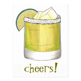 Cheers! Celebration Margarita Cocktail Lime Green Postcard